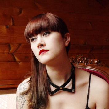 Oxford Collar - Black Leather Neck Harness & Choker
