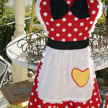MINNIE MOUSE costume full APRON for women Disney inspired Party Hostess Red Polka Dot. Bridal Birthday gift. Mother's Day