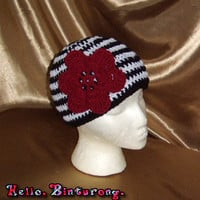 Black and White Striped Hat w/Flower