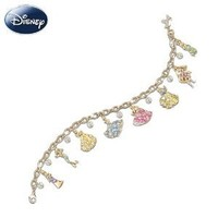 Disney Princess 24K Gold-Plated Charm Bracelet With Swarovski Crystals by The Bradford Exchange
