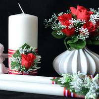 Set of candles to the Double Rite of candles (CRR02)-Red Roses Collection