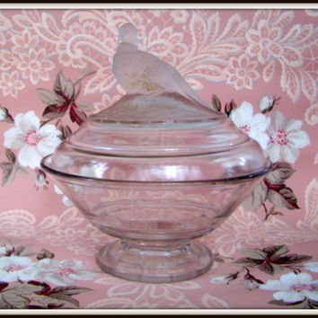 Vintage 40's Imperial Clear Pressed Glass Covered Bowl with Frosted Pheasant on Lid