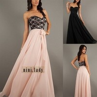 Stock Long Chiffon Formal Party Evening Gowns Prom Bridesmaid Dresses Size 6-16