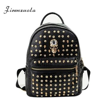 Skull Rivet Fashion Women Backpacks PU Material Backpack