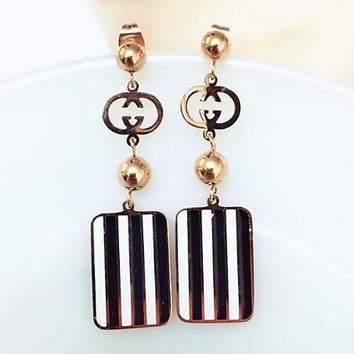 GUCCI Fashion Wommen Personality Letter Black White Stripe Pendant Titanium Steel Earrings Accessories Jewelry I13289-1