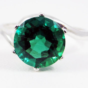 Sterling Silver Emerald Bypass Solitaire Ring, May Birthstone Ring, Large Emerald Solitaire Ring, 925 Lab Emerald Ring