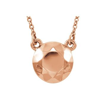 Faceted 9mm Circle Necklace in 14k Rose Gold, 16.5 Inch