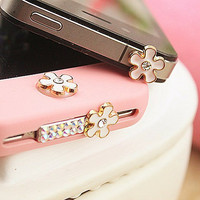 A set of (3 pcs) Bling colorful rhinestone flower Apple iPhone 4/4s case Home Button Sticker, Apple iPhone Home Button Sticker,