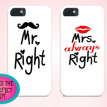 Love iphone cases, Mr Right Mrs Right, anniversary gift, wedding gift, couple gift, gift for couple, boyfriend gift, girlfriend gift ideas