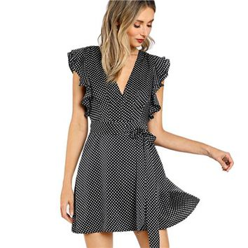 Elegant  Summer Dress Black and White Polka Dot Cap Sleeve  Line Dress