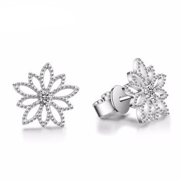 Genuine Natural 0.06cttw Diamond Real 18k White Gold Stud Earrings Fine Jewelry