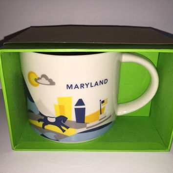 starbucks you are here collection maryland ceramic coffee mug new with box