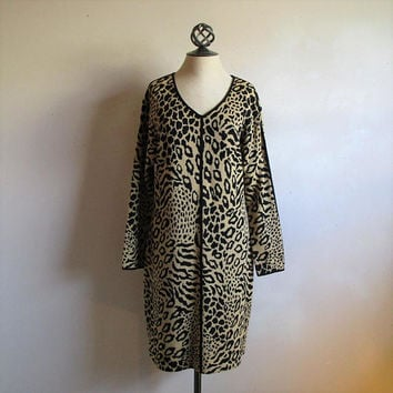 Vintage St. John Marie Gray 80s Dress Black Beige Animal Leopard Cheetah Print 1980s Designer Knit Shift 10