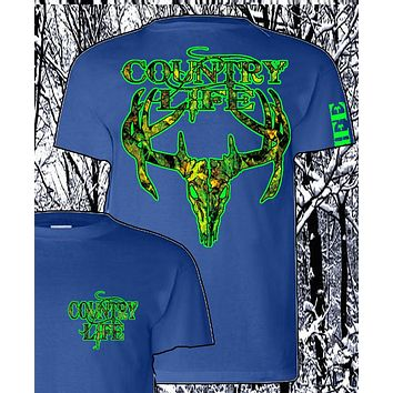 Sale Country Life Outfitters Royal & Green Camo Realtree Deer Skull Head Hunt Vintage Unisex Bright T Shirt