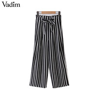 Women vintage striped wide leg pants bow tie sashes elastic waist pockets European style summer casual loose trousers KZ900