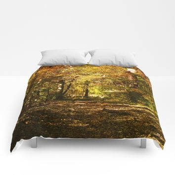 Woods Lake Trail Comforters by Theresa Campbell D'August Art