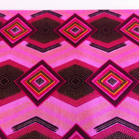 African Wax Print Fabric by the HALF YARD.  Dark Pink, Light Pink, Brown and Gold--Diamonds with Glitter Texture