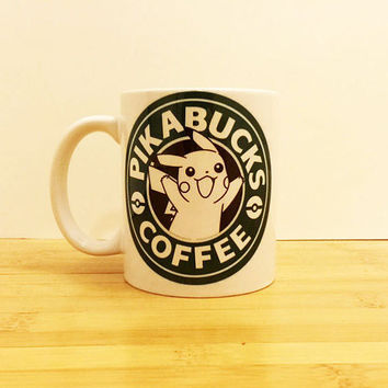 Pikabucks Pokemon Coffee Mug 11 oz - Nintendo Starbucks - Kawaii Super Smash Bros - Ceramic Tea Cup