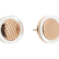 Edforce Stainless Steel and Rose Gold Plated Stud Earring with Mother of Pearl Border and Inner Honeycomb Design