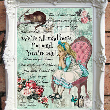 Alice in Wonderland Decor ALICE in Wonderland Quote Art Print Alice in Wonderland Nursery Wall Art Alice in Wonderland Nursery Decor  C:A37