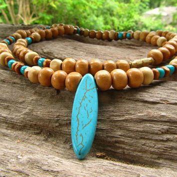 Men's Beaded Necklace with Turquoise Howlite Pendant  / Surfer Hippie Boho Hipster / Choker Style Men's Ethnic Necklace / Men's Jewelry