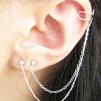 Sterling Silver Long Branched Chain Double Piercing Cuff Earring