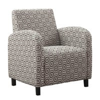 "Grey / Earth Tone "" Hexagon "" Fabric Accent Chair"