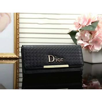 Dior LV Women Leather Multicolor Wallet Purse Black I-LLBPFSH