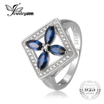 JewelryPalace Classic Flower 2.3ct Created Blue Spinel Cocktail Ring Pure 925 Sterling Silver Wedding Fashion Jewelry For Woman