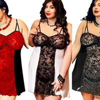 "Seductive Lace Panel Babydoll S-6XL 8-26 ""Bridget"" Plus size Lingerie"