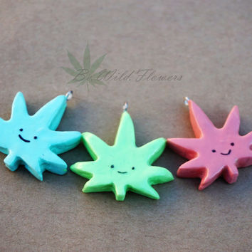 Chibi Pot Leaf Charm Necklace / Kawaii Weed marijuana stoner cannabis hippie pastel goth grunge pendant pendy glass pipe
