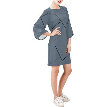 Draw the Line Bell Sleeve Dress