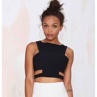 Free Shipping New Summer 2016 Sexy Black Woman's Elastic Cut Out Bandage Crop Tops