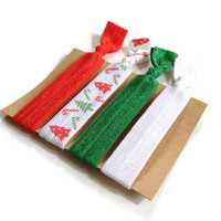 Christmas Elastic Hair Ties Red White and Green Print Yoga Hair Bands