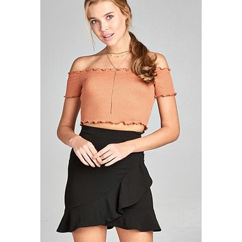 Ladies fashion short sleeve off the shoulder merrow crop top