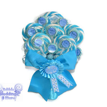 Baby Shower Lollipop Bouquet, Its a boy bouquet, candy bouquet, baby shower, baby boy, boy, bouquet, gift, blue, lollipop, candy, new mom