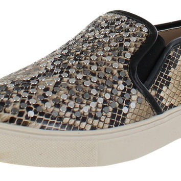 Steve Madden Eros Studded Snake Print Slip On Sneakers Shoes