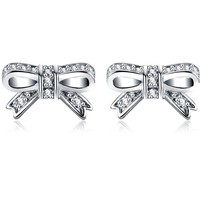 LZESHINE New Cute Earrings 100% 925 Sterling Silver Bowknot Shape Earrings Women Wedding Luxury Jewelry PSER0025
