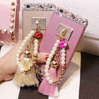 High Quality Pearl Chain Crystal Cell Phone Case for iphone 6 6s for iphone 6 6s  plus