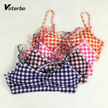 Voterbo 2018 New Women Sports Bra Fitness Plaid Style Crop Top Breathable Seamless Athletic Running Tops Plus Size Sport Wear