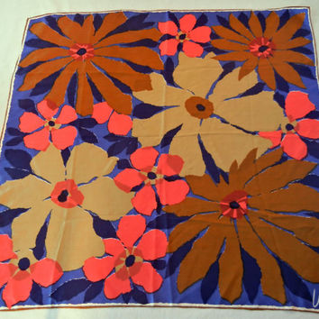 Vera Neumann Silk Scarf, Red and Copper Tropical Flowers on Blue, Giant Oversized Luau Floral Print, Square Shape, 70s Era