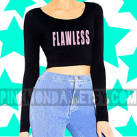 Flawless Beyonce Crop Top with Pink Letters Drunk in Love Long Sleev Shirt Top Blouse Scoopneck Cotton Womens Girls [ Small Medium Large]