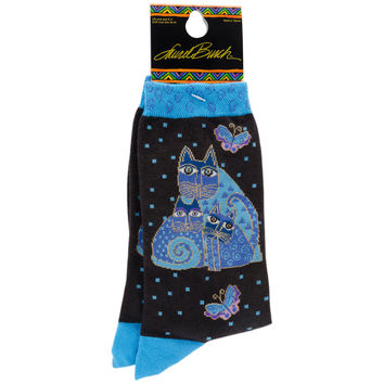 Laurel Burch Socks-Indigo Cats - Blue