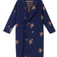 Navy Lapel Double Breasted Embroidery Detail Woolen Coat