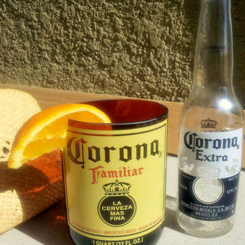 Corona Beer Bottle Glass Tumbler made from a Corona Familiar Bottle.  24oz