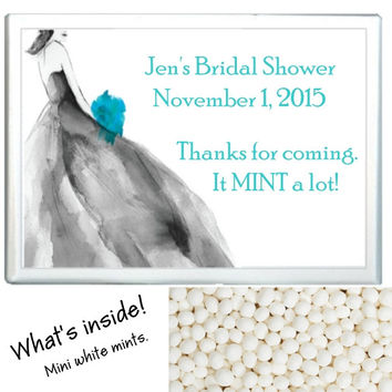 Black and Tiffany Bridal Shower Mint Favors