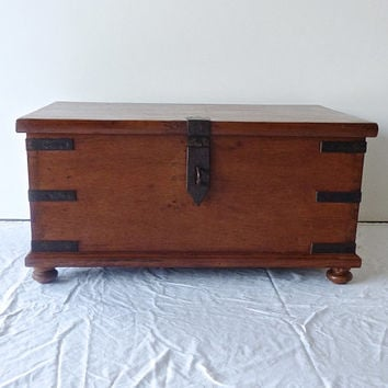 Antique Trunk // Campaign Furniture // Teak // India