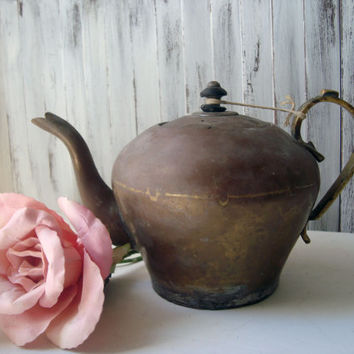 Rustic Vintage Teapot, Shabby Chic Teapot, Photo Prop, French Farmhouse, Small Brass Teapot