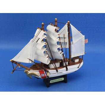 Wooden United States Coast Guard USCG Eagle Model Ship 7""