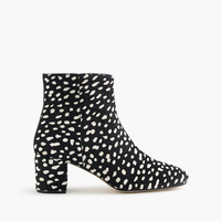 Side-zip ankle boots in leopard calf hair